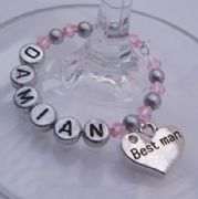 Best Man Personalised Wine Glass Charm - Full Bead Style